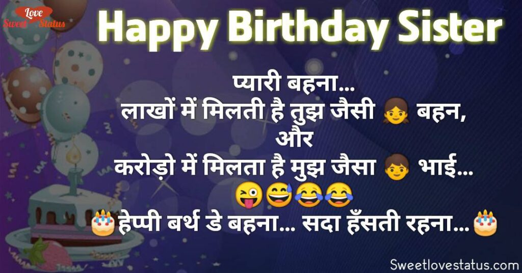 Happy Birthday Wishes in Hindi for Sister