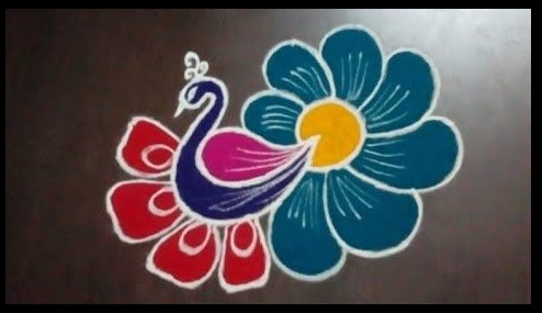 Easy Peacock Rangoli Design